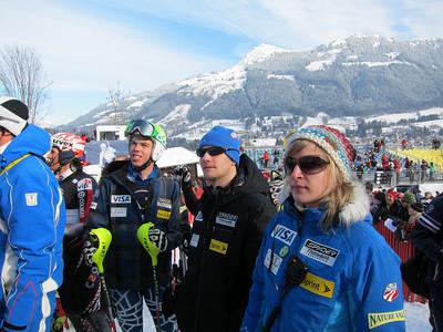 (l-r) Colby Granstrom, Adam Korzun and Anna Egger watch the Kitzbuehel slalom (Doug Haney/U.S. Ski Team)