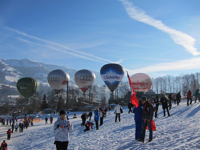 Baloons afloat during Kitzbuehel slalom (Doug Haney/U.S. Ski Team)