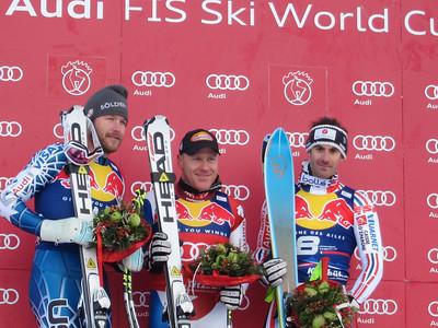 Bode Miller, Didier Cuche and Adrien Theaux on the Hahnenkamm downhill podium (Doug Haney/U.S. Ski Team)