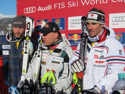 Bode Miller, Didier Cuche and Adrien Theaux in the Kitzbuehel downhill leader box (Doug Haney/U.S. Ski Team)