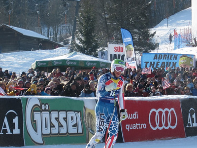 Bode Miller pumps his fist after the Hahnenkamm downhill (Doug Haney/U.S. Ski Team)