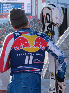 Bode Miller watching the final racers at the Hahnenkamm downhill (Doug Haney/U.S. Ski Team)