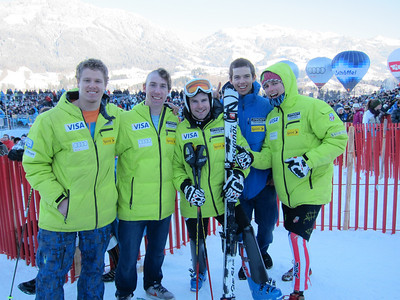 (l-r) Will Gregorak, Michael Ankeny, Nolan Kasper, Colby Granstrom and Tommy Ford after Kasper finished 12th in the Kitzbuehel slalom (Doug Haney/U.S. Ski Team)