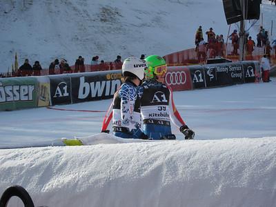 Nolan Kasper and Tommy Ford in the Kitzbuehel slalom finish (Doug Haney/U.S. Ski Team)