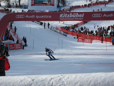 Nolan Kasper into the finish with 21st in the first run of slalom in Kitzbuehel (Doug Haney/U.S. Ski Team)