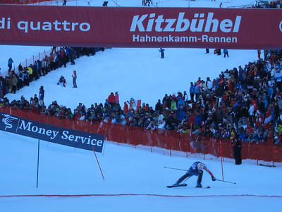 Nolan Kasper dives for the Kitzbuehel slalom finish to end the day with a career best 12th (Doug Haney/U.S. Ski Team)