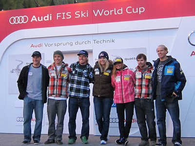 The U.S. Ski Team poses for a photo at the opening press conference hosted by Audi. (l-r) Tim Jitloff, Tommy Ford, Ted Ligety, Lindsey Vonn, Julia Mancuso, Nolan Kasper and Will Gregorak (Doug Haney/U.S. Ski Team)