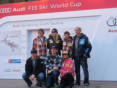 The U.S. Ski Team poses for a photo at the opening press conference hosted by Audi. (back row l-r)) Tommy Ford, Lindsey Vonn, Nolan Kasper, Will Gregorak (front row l-r) Tim Jitloff, Ted Ligety Julia Mancuso (Doug Haney/U.S. Ski Team)