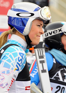 Lindsey Vonn watches after the first run of the women's GS in the opening event on the Audi FIS World Cup in Soelden, Austria. (c) 2010 Tom Kelly/U.S. Ski Team