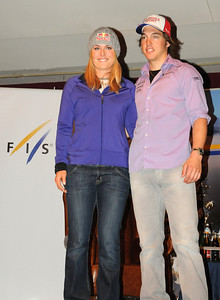 Audi FIS World Cup champions Lindsey Vonn and Carlo Janka pose together at a FIS Press Conferencet at the opening event on the Audi FIS World Cup in Soelden, Austria. (c) 2010 Tom Kelly/U.S. Ski Team