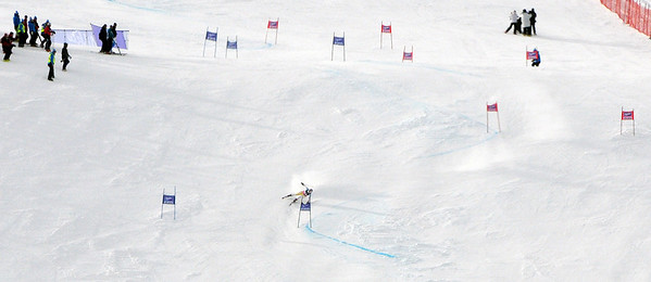 Lindsey Vonn runs into trouble on a steep pitch on the first run of the women's GS in the opening event on the Audi FIS World Cup in Soelden, Austria. (c) 2010 Tom Kelly/U.S. Ski Team