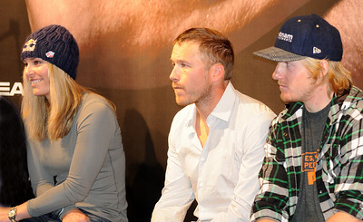 Olympic champions Lindsey Vonn, Bode Miller and Ted Ligety look on at a Head Skis press conference during the opening event on the Audi FIS World Cup in Soelden, Austria. (c) 2010 Tom Kelly/U.S. Ski Team