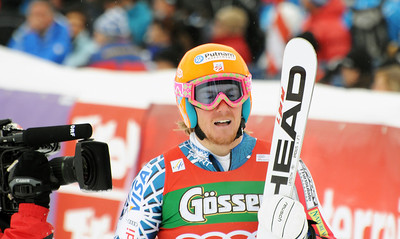 Ted Ligety in the finish area after the first run of men's giant slalom in the opening event on the Audi FIS World Cup in Soelden, Austria. (c) 2010 Tom Kelly/U.S. Ski Team