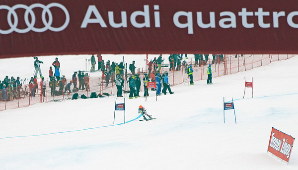 Ted Ligety charges into the finish area in the first run of men's giant slalom in the opening event on the Audi FIS World Cup in Soelden, Austria. (c) 2010 Tom Kelly/U.S. Ski Team