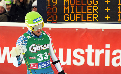 Bode Miller skis into the finish area after the first run of men's giant slalom in the opening event on the Audi FIS World Cup in Soelden, Austria. (c) 2010 Tom Kelly/U.S. Ski Team