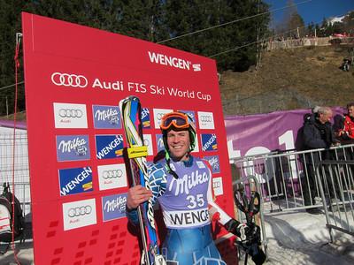 David Chodounsky in the Wengen slalom leader box before landing 19th, a career best, on the day (Doug Haney/U.S. Ski Team)