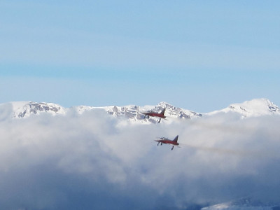 Swiss Air Force F5's during the pre-downhill festivities in Wengen (Doug Haney/U.S. Ski Team)