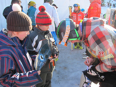 David Chodounsky signing autogrpahs in Wengen before rallying to 19th in the men's slalom (Doug Haney/U.S. Ski Team)