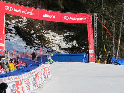 Ted Ligety dives across the finish line for the second fastest run of slalom in the Wengen super combined (Doug Haney/U.S. Ski Team)