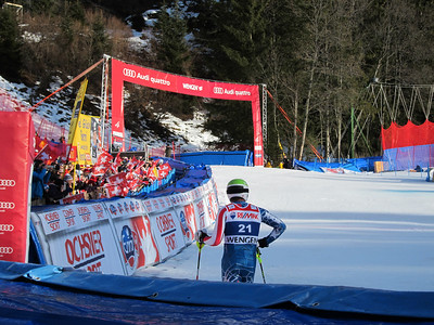 Bode Miller looks to the scoreboard after finishing sixth in the Wengen super combined (Doug Haney/U.S. Ski Team)
