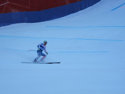 Bode Miller peels into the finish after the downhill portion of the Wengen super combined (Doug Haney/U.S. Ski Team)