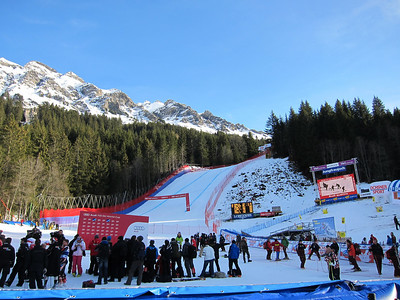 Photographers prepare for the super combined podium in Wengen with the downhill finish as the backdrop (Doug Haney/U.S. Ski Team)