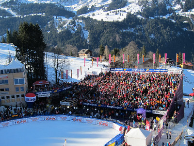 The stands are full in the Wengen finish with over 30,000 more spread across the famed Lauberhorn downhill (Doug Haney/U.S. Ski Team)