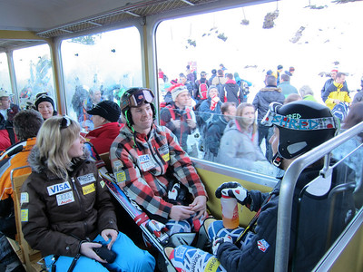 David Chodounsky and Will Brandenburg on the Wengeneralpbahn with Team Manager Anna Egger prior to the Lauberhorn downhill (Doug Haney/U.S. Ski Team)