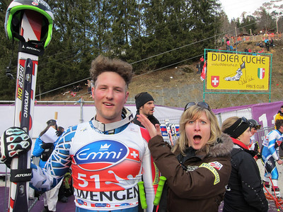 Men's Team Manager Anna Egger is in awe of Wiley Maple's 'speedhawk' cut by Travis Ganong and Ted Ligety in honor of his first World Cup start (Doug Haney/U.S. Ski Team)