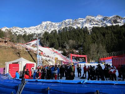 A view of the Wengen slalom hill prior to the super combined podium celebration (Doug Haney/U.S. Ski Team)
