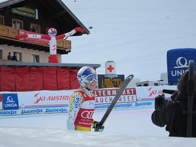 Lindsey Vonn smiles in the finish after her second place run of super G in Zauchensee (Doug Haney/U.S. Ski Team)