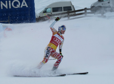 Lindsey Vonn peels into the Zauchensee finish with a run good enough for second in super G (Doug Haney/U.S. Ski Team)