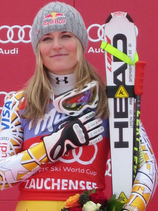 Zauchensee downhill champion Lindsey Vonn during the National Anthem (Doug Haney/U.S. Ski Team)