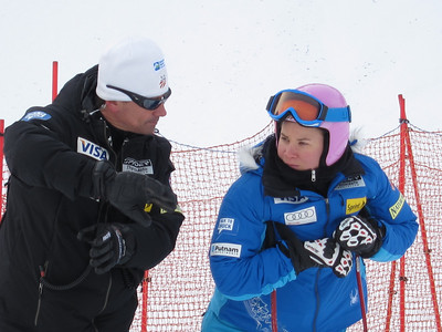 Chelsea Marshall with women's Head Coach Alex Hoedlmoser during downhill inspection at Zauchensee (Doug Haney/U.S. Ski Team)