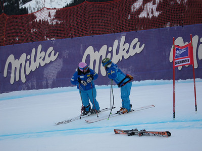 Chelsea Marshall (l) and Stacey Cook during downhill inspection at Zauchensee (Doug Haney/U.S. Ski Team)