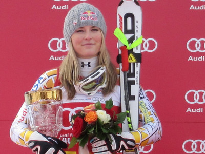 Lindsey Vonn during the super G flower ceremony in Zauchensee where she was second  (Doug Haney/U.S. Ski Team)