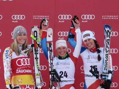 (l-r) Lindsey Vonn, Lara Gut and Dominique Gisin on the super G podium in Zauchensee (Doug Haney/U.S. Ski Team)