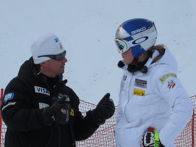 Women's Head Coach Alex Hoedlmoser and Lindsey Vonn talk strategy in Zauchensee (Doug Haney/U.S. Ski Team)
