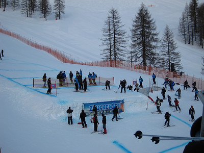 Course workers shape the finish jump in Zauchensee (U.S. Ski Team/Doug Haney)