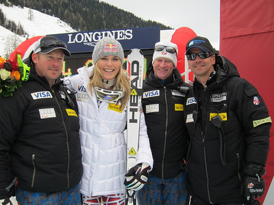 (l-r) U.S. Ski Team coaches Jeff Fergus, Chip White and Alex Hoedlmoser with Zauchensee downhill champion Lindsey Vonn (Doug Haney/U.S. Ski Team)