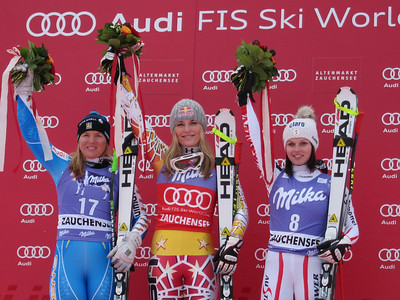 (l-r) Anja Paerson, Lindsey Vonn and Anna Fenninger on the downhill podium in Zauchensee (Doug Haney/U.S. Ski Team)