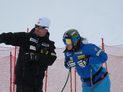 Women's Head Coach Alex Hoedlmoser and Stacey Cook during inspection at Zauchensee (Doug Haney/U.S. Ski Team)