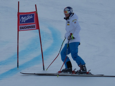 Lindsey Vonn checks out the line during downhill inspection at Zauchensee (Doug Haney/U.S. Ski Team)