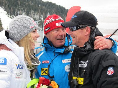 Lindsey Vonn and U.S. Ski Team Head Coach Alex Hoedlmoser celebrate Vonn's downhill win with Alex Rainer, president of the Salzburg Ski Team (Doug Haney/U.S. Ski Team)