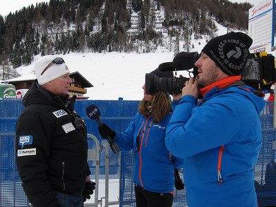 Speed Head Coach Chip White interviews with Swedish television in Zauchensee (Doug Haney/U.S. Ski Team)