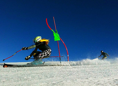 Sarah Schleper arcing in dual giant slalom at Valle Nevado (Kristian Saile)