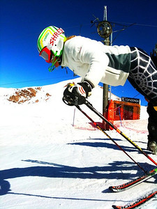 Sarah Schleper has the eye of the tiger in Valle Nevado (Kristian Saile)