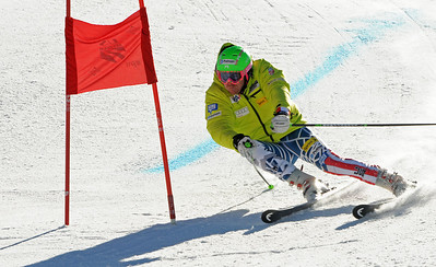 Olympic champion Ted Ligety charges a gate in giant slalom training as the U.S. Ski Team trains at Vail's Golden Peak. (c) 2010 U.S. Ski Team/Tom Kelly