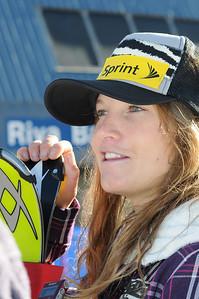 Julia Mancuso talks to media after slalom training at Vail's Golden Peak. (c) 2010 U.S. Ski Team/Tom Kelly