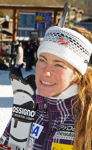 Resi Stiegler talks to media as the U.S. Ski Team trains at Vail's Golden Peak. (c) 2010 U.S. Ski Team/Tom Kelly